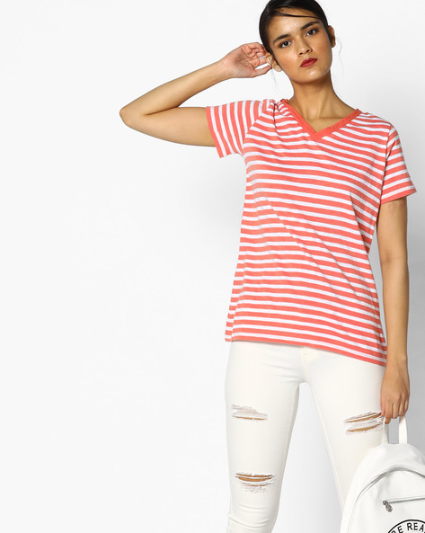 Striped V-neck T-shirt By Project Eve WW Athleisure ( Ltpeach )