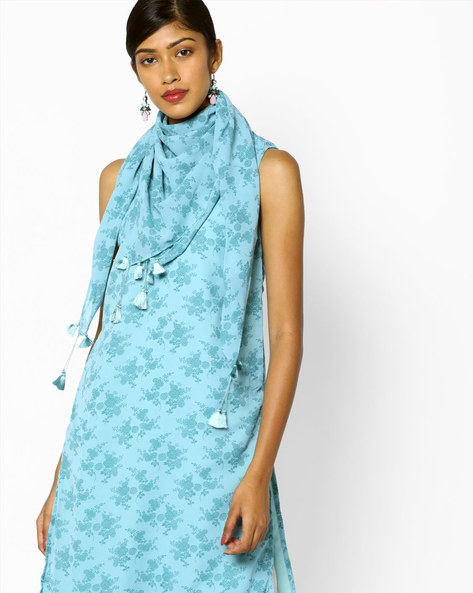 Floral Print Stole With Tassels By AJIO ( Blue )