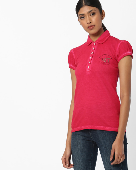 T-shirt With Spread Collar By WRANGLER ( Rose )