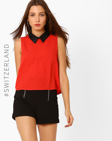 Sleeveless Top With Embellished Collar By TALLY WEiJL ( Red )