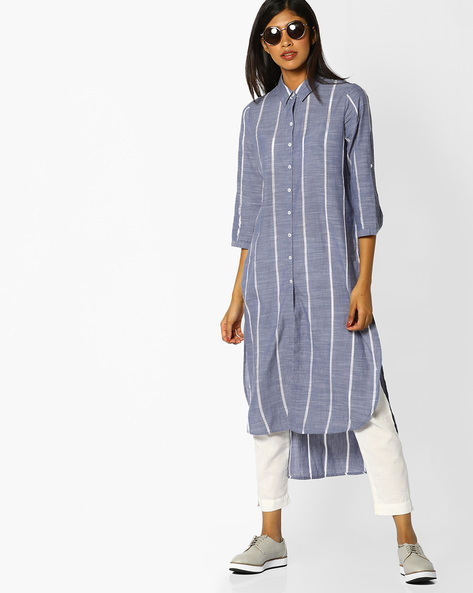 Striped High-Low Shirt Kurta By Melange By Lifestyle ( Offwhite )