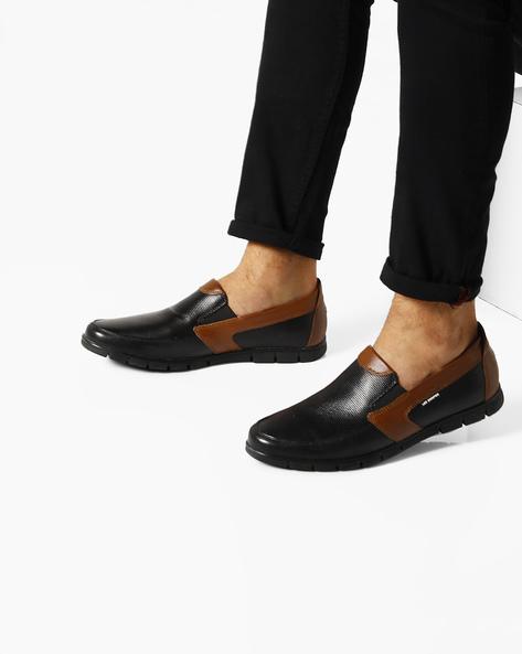 Genuine Leather Colourblock Slip-Ons By Lee Cooper ( Black )