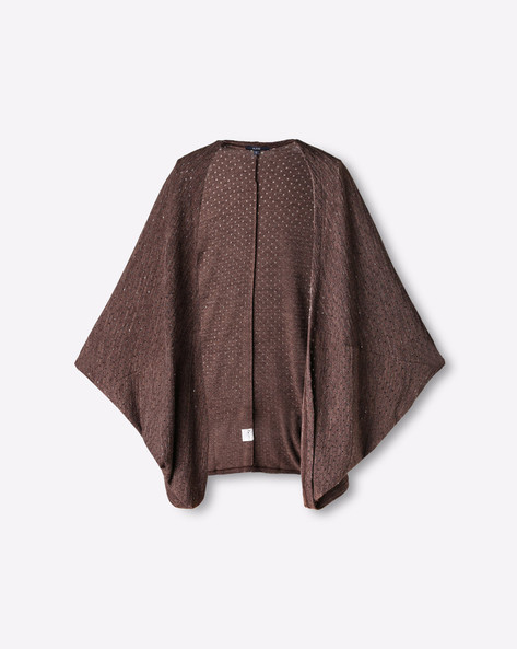 Open-Front Shrug With Dolman Sleeves By AJIO ( Brown )