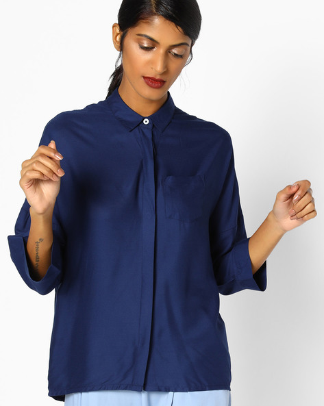 Shirt With Concealed Button Placket By Teamspirit ( Navy )