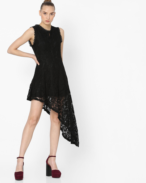 Sleeveless Lace Dress With Asymmetrical Hem By Ginger By Lifestyle ( Black )