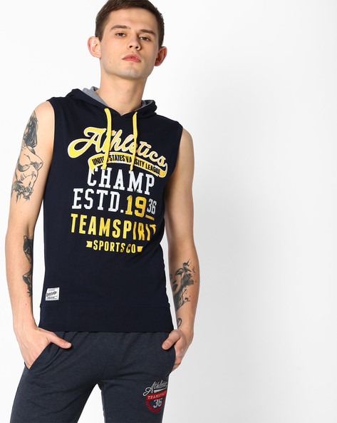Printed Sleeveless Hooded T-shirt By TEAM SPIRIT ( Navy )