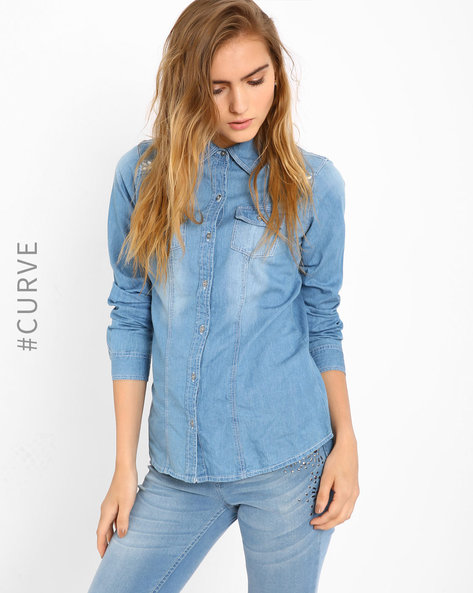 Embellished Denim Shirt By AJIO ( Lightblue )
