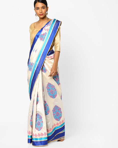 Printed Saree With Contrast Border By Era ( White )