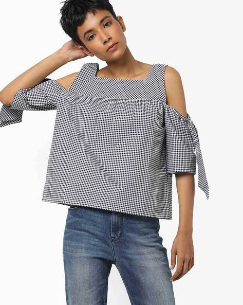 Checked Cold-Shoulder Top With Tie-Ups By DNMX ( Black )