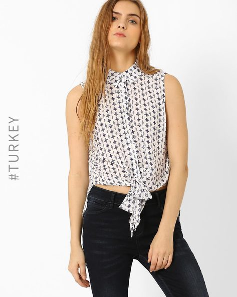 Printed High-Low Shirt With Tie-Up By TIFFANY & TOMATO ( Ecru )