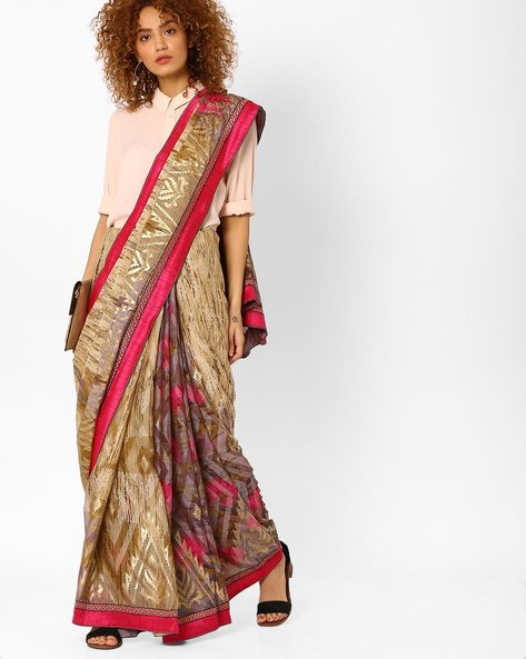 Printed Saree With Brasso Foil Work By Arissa ( Multi )