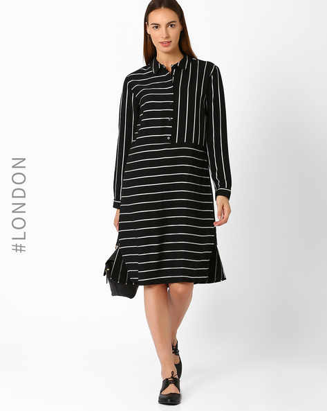 Striped Shirt Dress By Marks & Spencer ( Black )