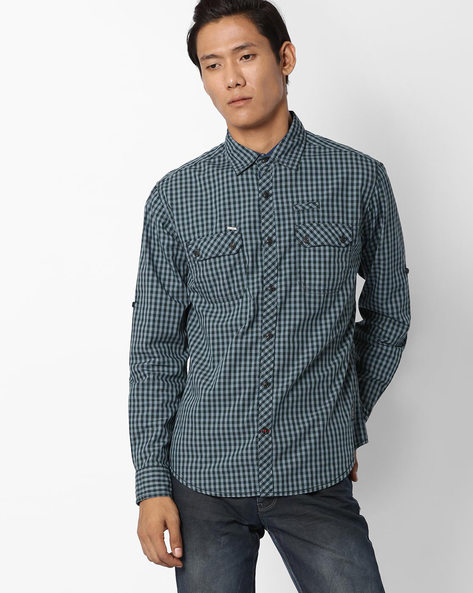 Checked Shirt With Roll-Up Tab Sleeves By DNM X ( Medgrey )