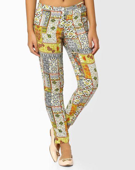 Printed Pants By AJIO ( Limegreen )