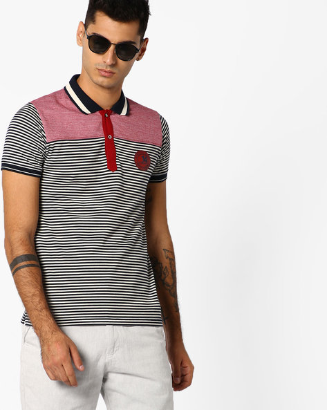 Striped Slim Fit Polo T-shirt By DUKE ( Navy )