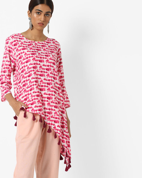 Top With Tasseled Asymmetric Hemline By Project Eve IW Fusion ( Pink )