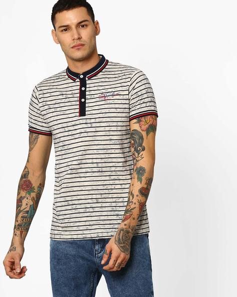 Textured Polo T-shirt With Stripes By Fort Collins ( Beige )