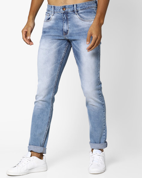 Heavy Washed Slim Tapered Fit Jeans By AJIO ( Blue )
