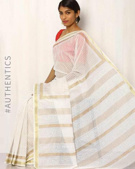 Gold Khari Print Maheshwari Saree By Indie Picks ( White )