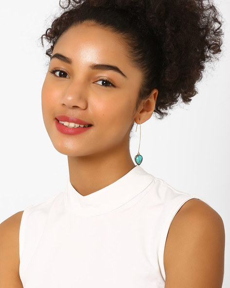 Drop-Earrings With Stone By AJIO ( Turquoise )