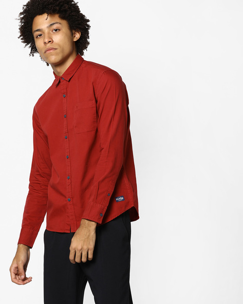 Slim Fit Shirt With Patch Pocket By FLYING MACHINE ( Red )