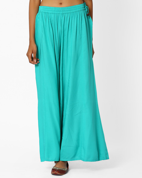 Palazzo Pants With Tassel Tie-Up By Khimsariya ( Aqua )