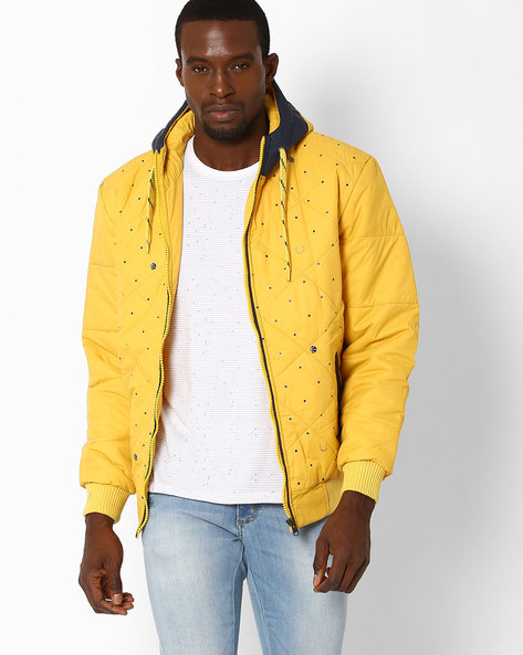 Regular Fit Quilted Jacket With Hood By Fort Collins ( Yellow )