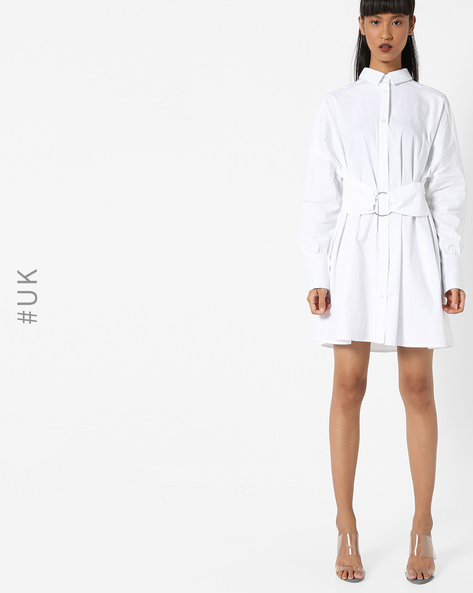 Shirt Dress With Mock Belt By OEUVRE ( White )