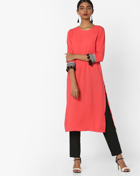 Tunic With Embroidered Sleeve Hems By AJIO ( Coral )