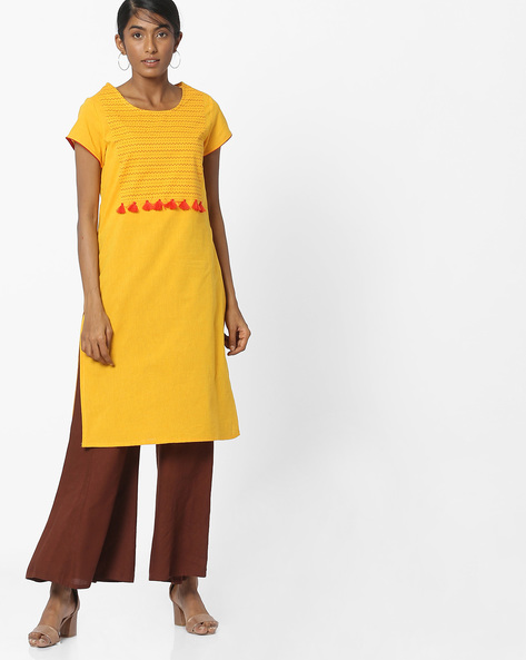 Printed Straight Kurta With Tassels By Melange By Lifestyle ( Mustard )