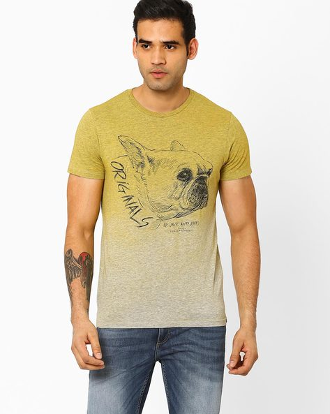 Ombre-Dyed Slim Fit T-shirt By Jack & Jones ( Yellow )