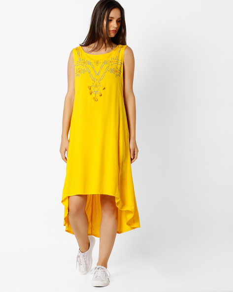 Sleeveless High-Low Dress By Global Desi ( Yellow )