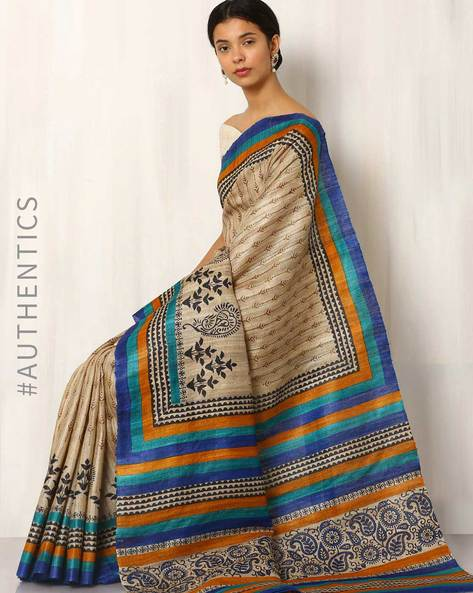 Handblock Print Pure Kosa Ghicha Silk Saree By Indie Picks ( Multi )