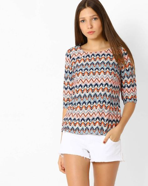 Abstract Print Top By Only ( White )
