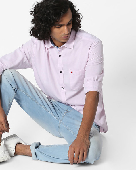 Slim Fit Shirt With Patch Pocket By British Club ( Purple )