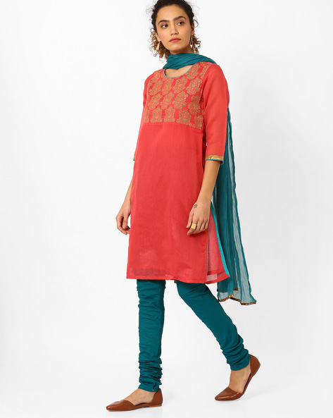 Embroidered Churidar Kurta With Dupatta By AVAASA SET ( Pink )