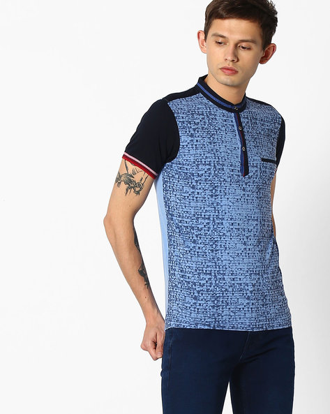 Printed T-shirt With Band Collar By Fort Collins ( Sblue )