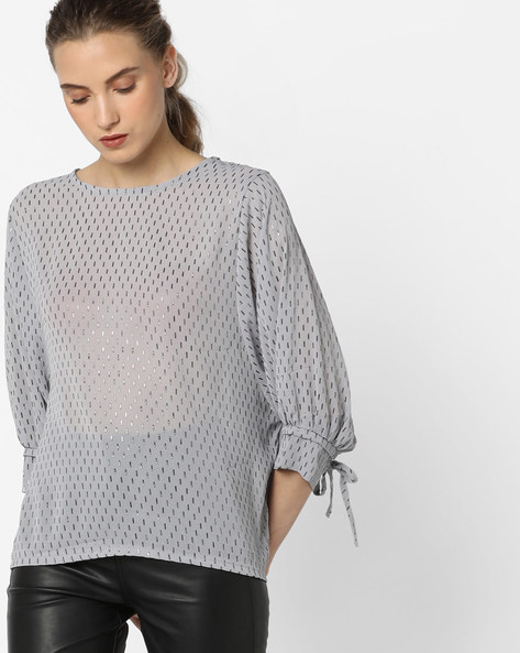 Foil Print Top With Dolman Sleeves By CODE By Lifestyle ( Grey )