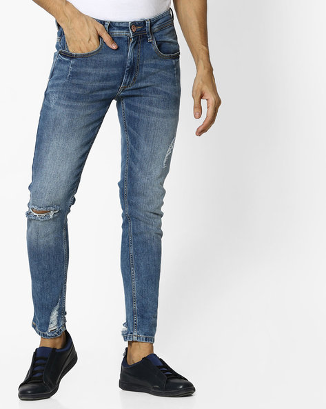 Mid-Wash Distressed Jeans By ADAMO LONDON ( Blue )