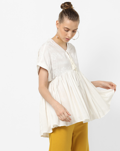 Swing Top With Tie-Up By Tokyo Talkies ( White )