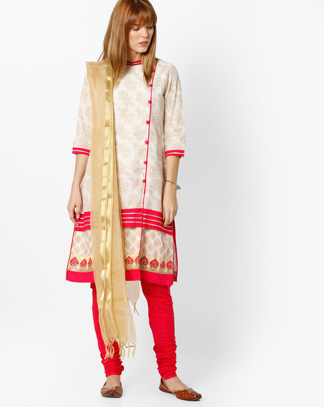 Printed Churidar Kurta With Dupatta By AVAASA SET ( Offwhite ) - 440706717002