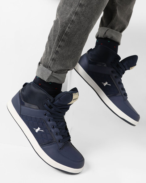Mid-Top Lace-Up Casual Shoes By SPARX ( Navyblue )