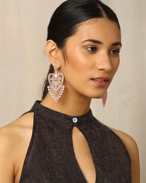 Metal Filigree Drop-Earrings By Indie Picks ( Pink ) - 460018147001