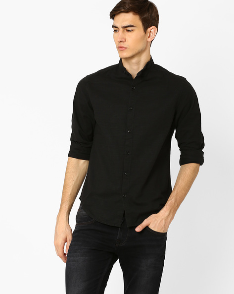 Slim Shirt With Adjustable Band Collar By Blue Saint ( Black )