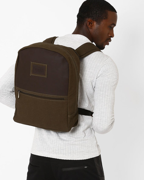 Colourblock Backpack With Padded Straps By FAMOZI ( Olive )