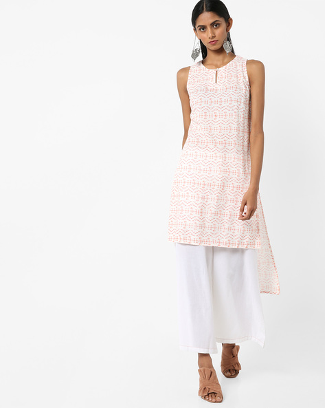 Printed Longline Tunic With High-Low Hem By AJIO ( Peach )