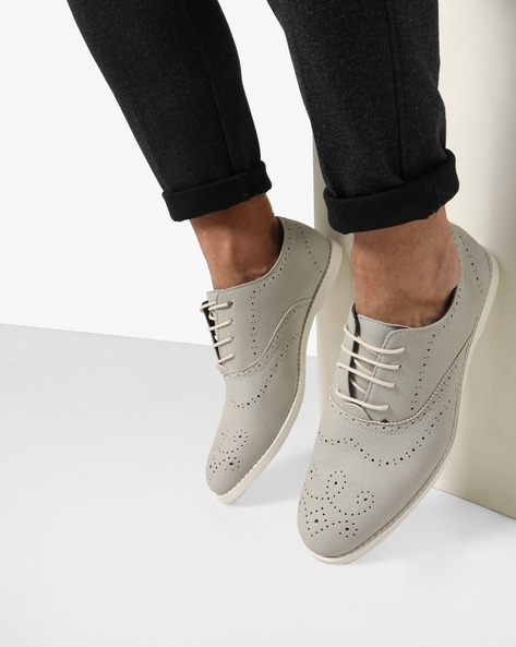 Casual Shoes With Lace-Ups By AJIO ( Grey )