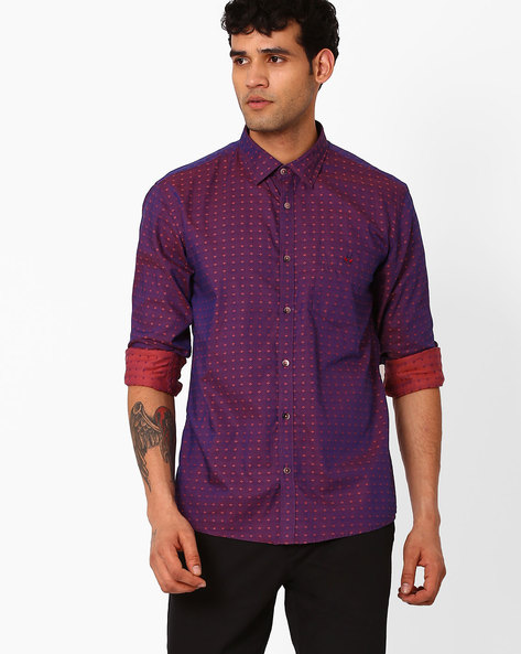 Slim Fit Shirt With Curved Hemline By CRIMSOUNE CLUB ( Rust )
