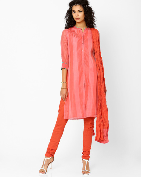Striped Kurta Churidar With Dupatta By AJIO ( Coral )