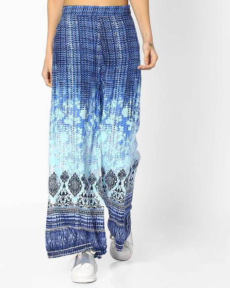 Printed Palazzos With Elasticated Waistband By Global Desi ( Blue )